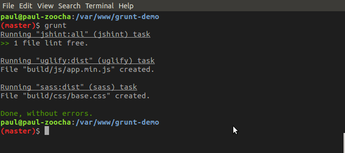 Screenshot of grunt output in a terminal window